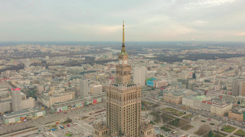 Aerial view of Warsaw dawntown, Palace of Culture, Poland Footage