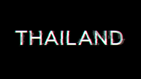 From the Glitch effect arises country name THAILAND. Then the TV turns off. Alpha channel Animation