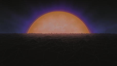 Retro Futuristic Planet and Mountains Animated Background Animation