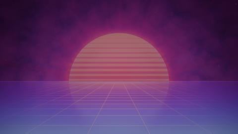 Retro Futuristic Striped Sun and Grid - Animated Background Animation