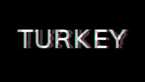 From the Glitch effect arises country name TURKEY. Then the TV turns off. Alpha channel Animation
