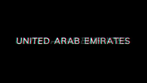 From the Glitch effect arises country name UNITED ARAB EMIRATES. Then the TV turns off. Alpha Animation
