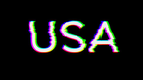 From the Glitch effect arises country name USA. Then the TV turns off. Alpha channel Premultiplied - Animation