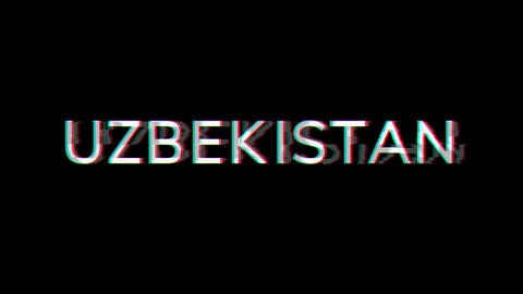 From the Glitch effect arises country name UZBEKISTAN. Then the TV turns off. Alpha channel Animation