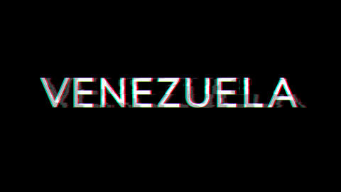 From the Glitch effect arises country name VENEZUELA. Then the TV turns off. Alpha channel Animation