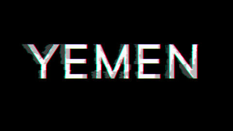 From the Glitch effect arises country name YEMEN. Then the TV turns off. Alpha channel Premultiplied Animation