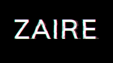 From the Glitch effect arises country name ZAIRE. Then the TV turns off. Alpha channel Premultiplied Animation