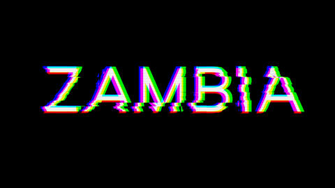 From the Glitch effect arises country name ZAMBIA. Then the TV turns off. Alpha channel Animation
