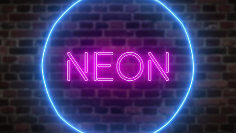 Animation zoom flashing neon sign 'Neon' Footage