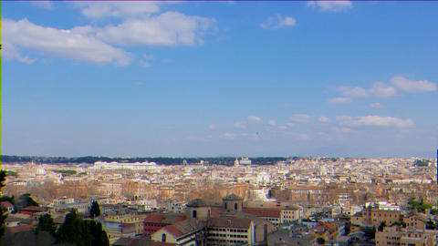 Glitch effect. Panorama of Rome. View from Gianikolo. Rome, Italy Live Action