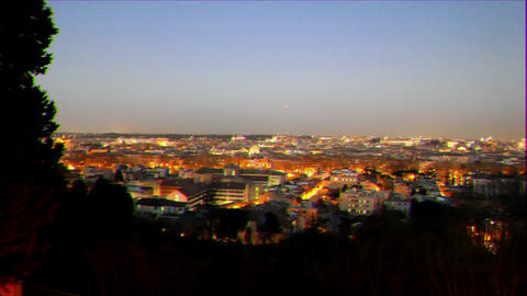 Glitch effect. Rome by night. Panorama. Italy Live Action