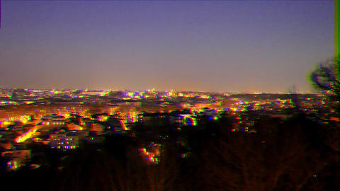Glitch effect. Rome by night. Italy Live Action