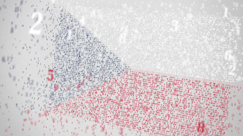 Falling numbers make up flag of the CZECH REPUBLIC. National information Footage