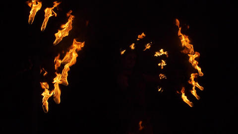 Dancing torches in the night Fiery show Extravaganza at night Footage