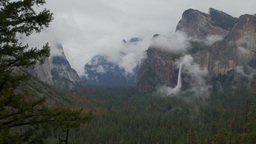 Forbidding time lapse view of stormy looking Yosemite Valley Live Action