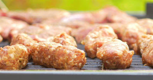 Preparing Traditional Romanian Barbecue With Pork Meat... Stock Video Footage