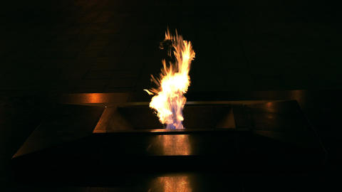 1080p Eternal Flame Burning at Night on Victory Square in Minsk, Belarus Footage