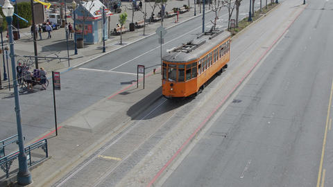 A San Francisco Municipal train pulls up to the wharf Footage