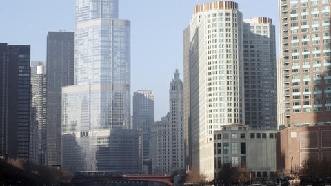 Tilting up shot of the the Trump building and downtown Chicago Footage