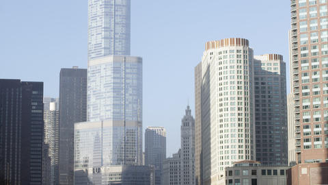 Tilting up shot of the the Trump building in downtown Chicago Footage