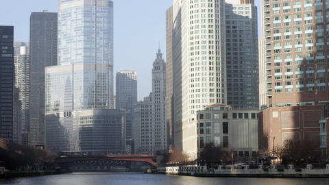 Panning left shot of the the Trump building in downtown Chicago Footage