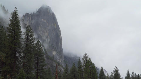 Wide view of storm in Yosemite infront of El Capitan Footage