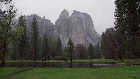 Right pan of stormy El Capitan Footage