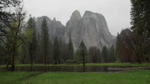 Right pan of stormy Yosemite and El Capitan Footage