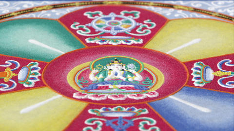 Low angle of a colorful sand mandala Footage