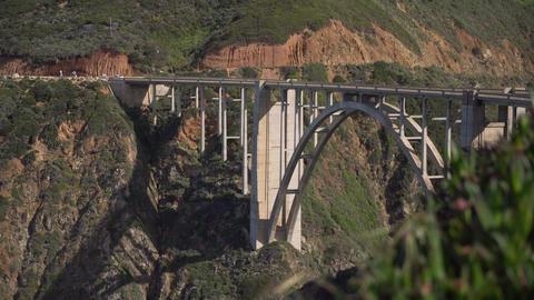 Pull out shot of Bixby creek bridge Footage