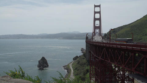 View of bridge and large rock Footage