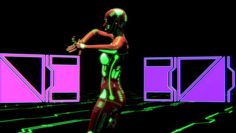 Female Cyberpunk Dancer Animation Stock Video Footage