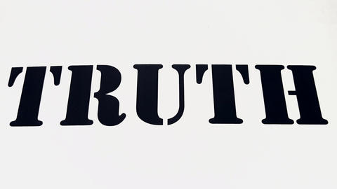 Truth Spelled Out on White Background. Abstract Concept of Truth Fade In While Slowly Zooming In and Footage