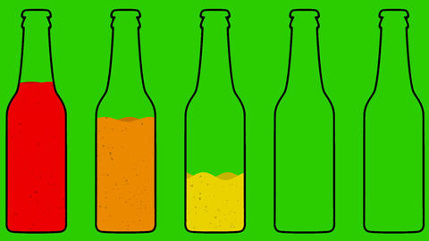 Cartoon Vector Bottles Filling Up Animation on a Green Screen Live Action