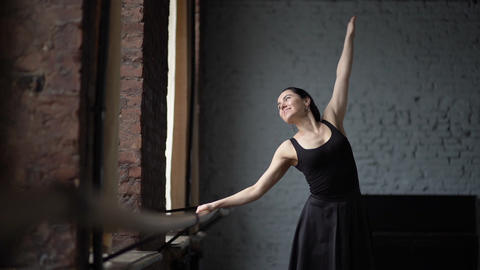 Happy and smile footage - dancer makes dance movement and... Stock Video Footage