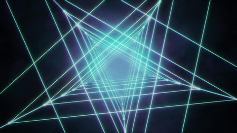 Glowing Neon Cyan Space Stars Animation