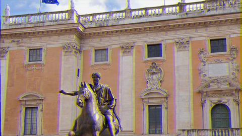 Glitch effect. Statue of Marcus Aurelius and Comune Di Roma. Rome, Italy Live Action