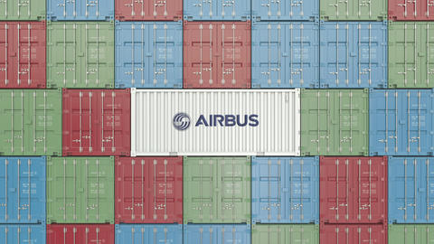Airbus corporate logo on an industrial container. Editorial animation GIF