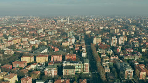 Aerial view of the centre of Modena. Emilia-Romagna region, Italy Live Action