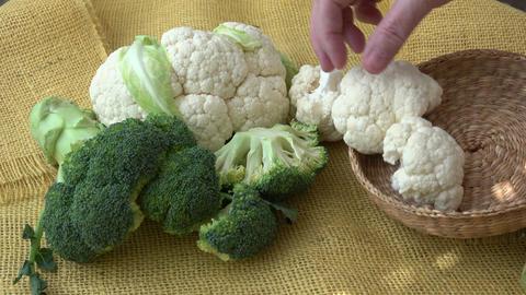 Fresh organic cauliflower and broccoli GIF