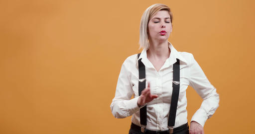 Adult pretty blonde woman denying and being very strict Live Action