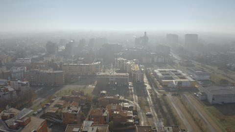 Aerial view of the apartment houses in Modena on foggy day. Emilia-Romagna Live Action