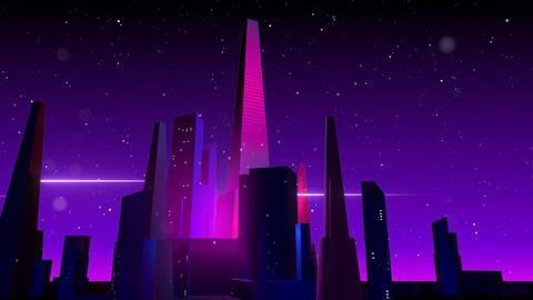 VJ Retro-Futuristic City CG動画素材