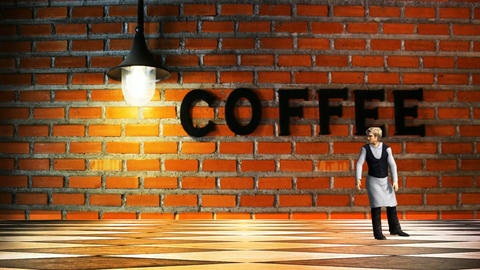 07 animated template for coffee bar, with waiter Animation