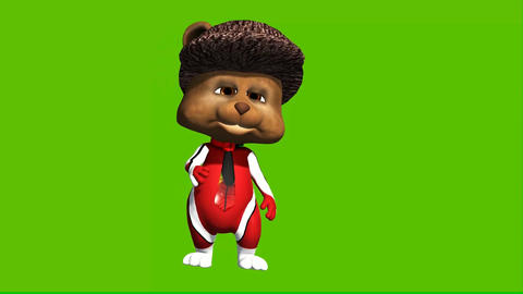 16 animated cartoon teddy in sport costume walking and talking Animation