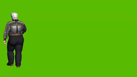 20 animated fat man walks around on green background Animation