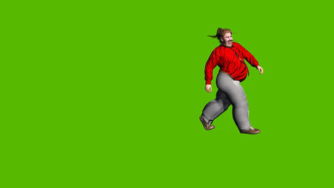 06 animated 3d young very fat man run arround on green background Animation