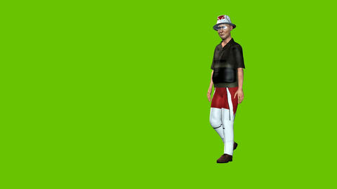24 animated model of old man in funny clothes walking around Animation