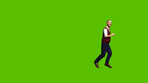 25 animated old male character exercises by running around Animation