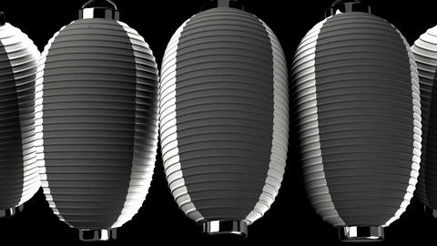 Black and white paper lantern on black background CG動画